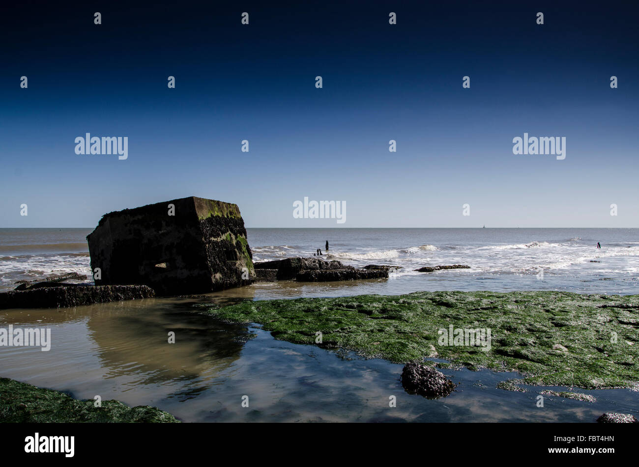 Military Gunpost remains, East Lane, Bawdsey, Suffolk. - Stock Image