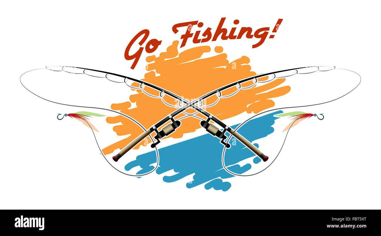 Poster with two rods and wording Go Fishing. Colorful illustration. - Stock Image