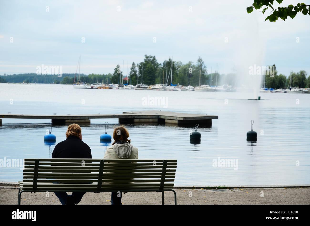 View of the harbor of Lappeenranta with the fountain. lake Saimaa. Lappeenranta. South Karelia. Finland. Europe Stock Photo