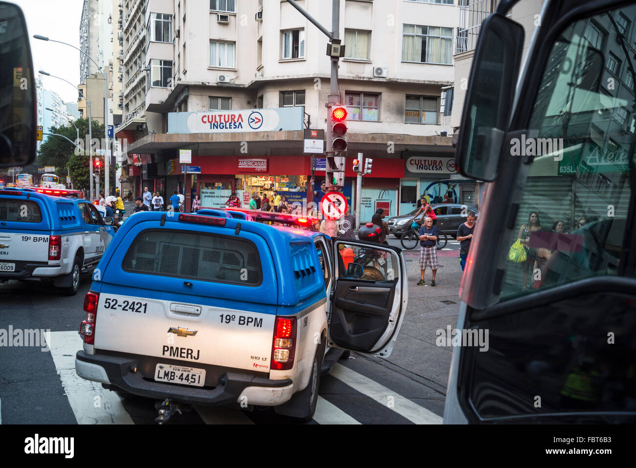 Police cars blocking the road, Copacabana, Rio de Janeiro, Brazil Stock Photo