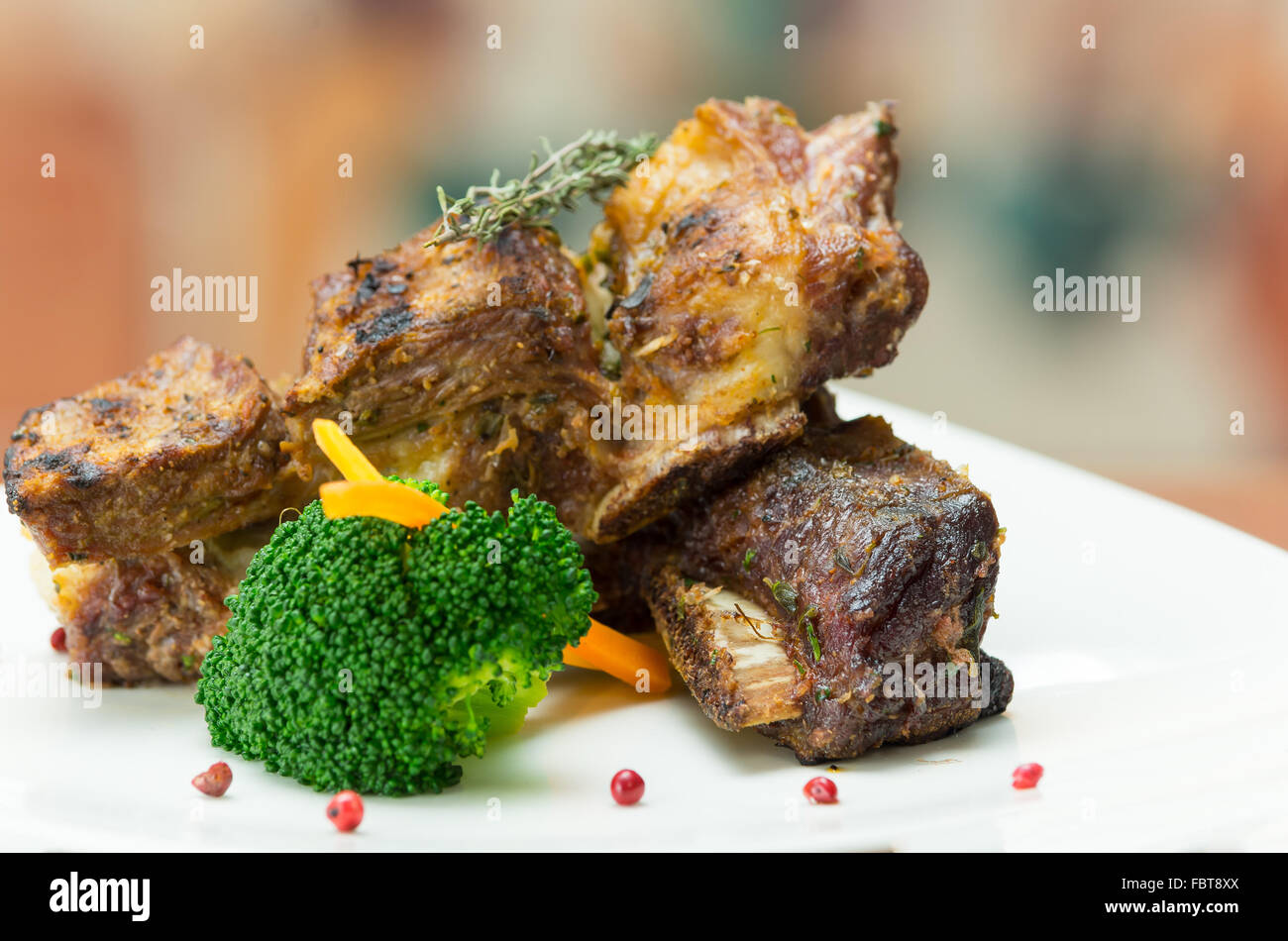 Delicious Rib Steak And Vegetables Placed On White Plate Elegant Stock Photo Alamy