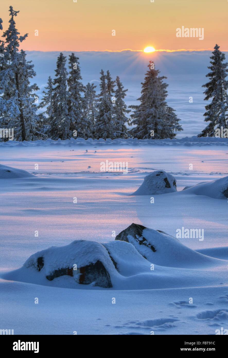 Sunset on the mountain Stock Photo