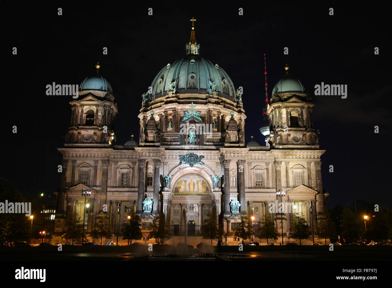 frontal view of berlin dome by night - Stock Image