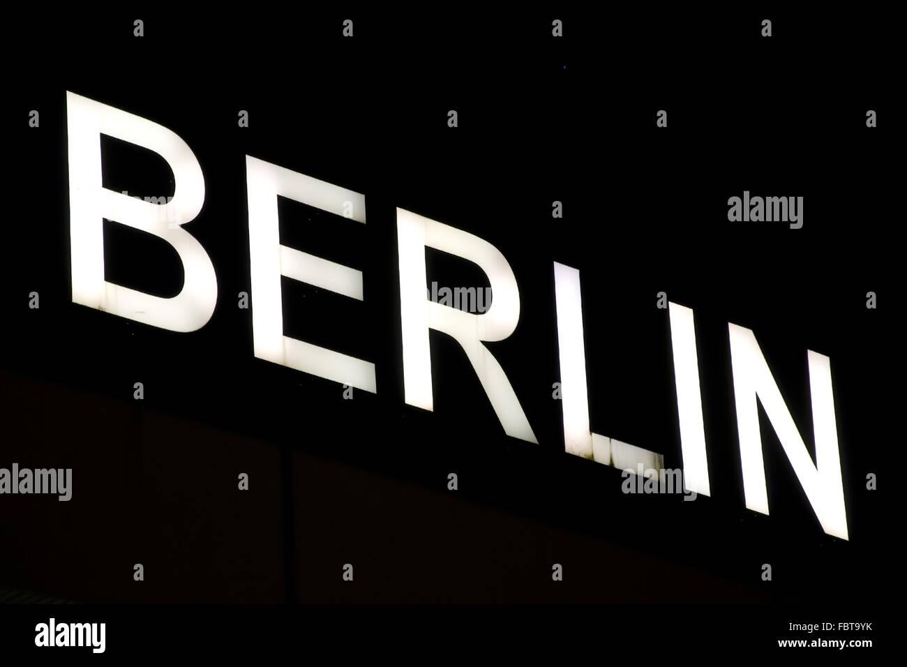 berlin illuminated letters - Stock Image