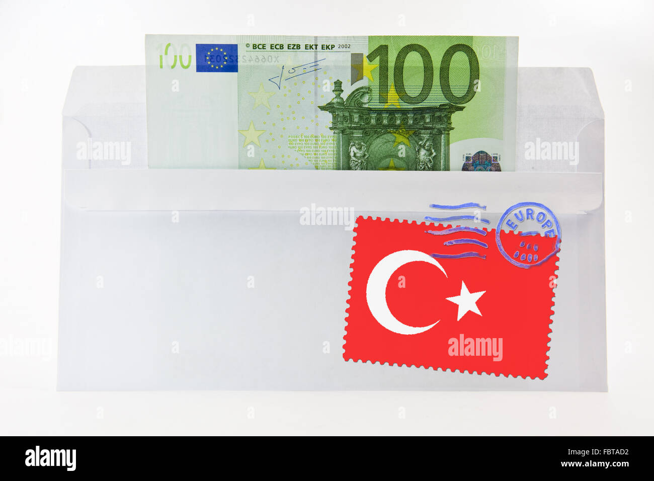 Item of correspondence with 100 EUR - Stock Image