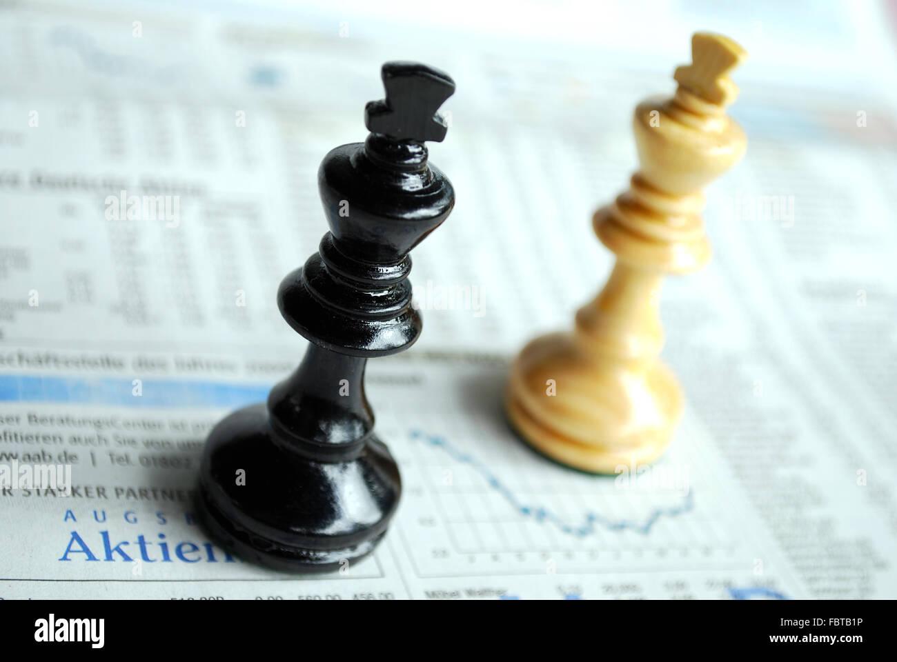 chessmen stock exchanges - Stock Image
