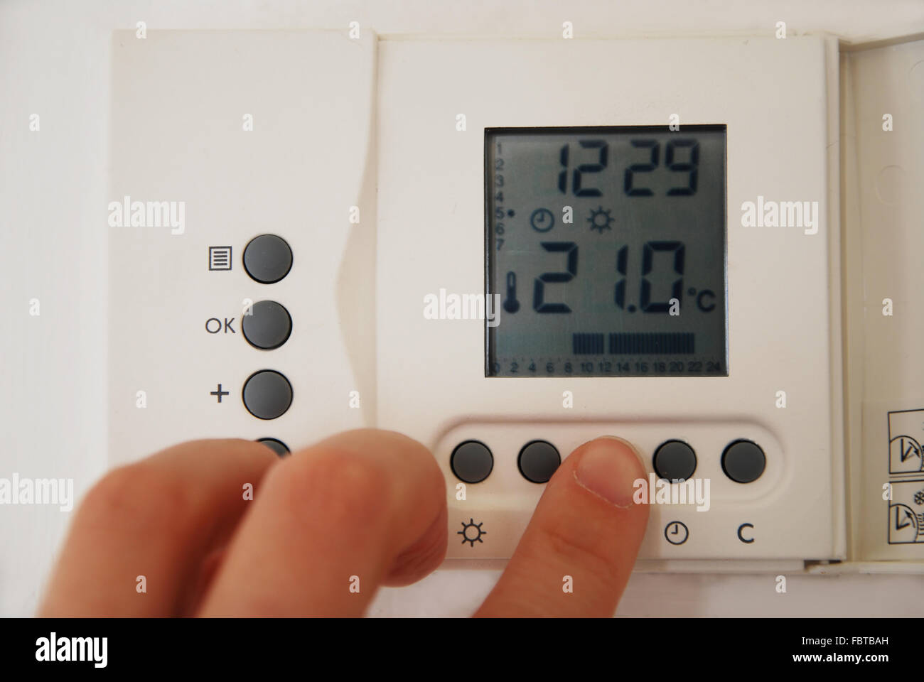 heating room thermostat Stock Photo