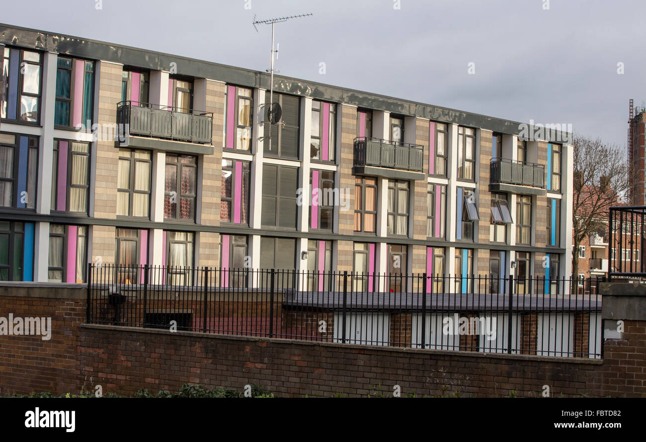 Council estate regeneration underway in Leeds.  Old high rise council flats given a new lease of life in Leeds - Stock Image