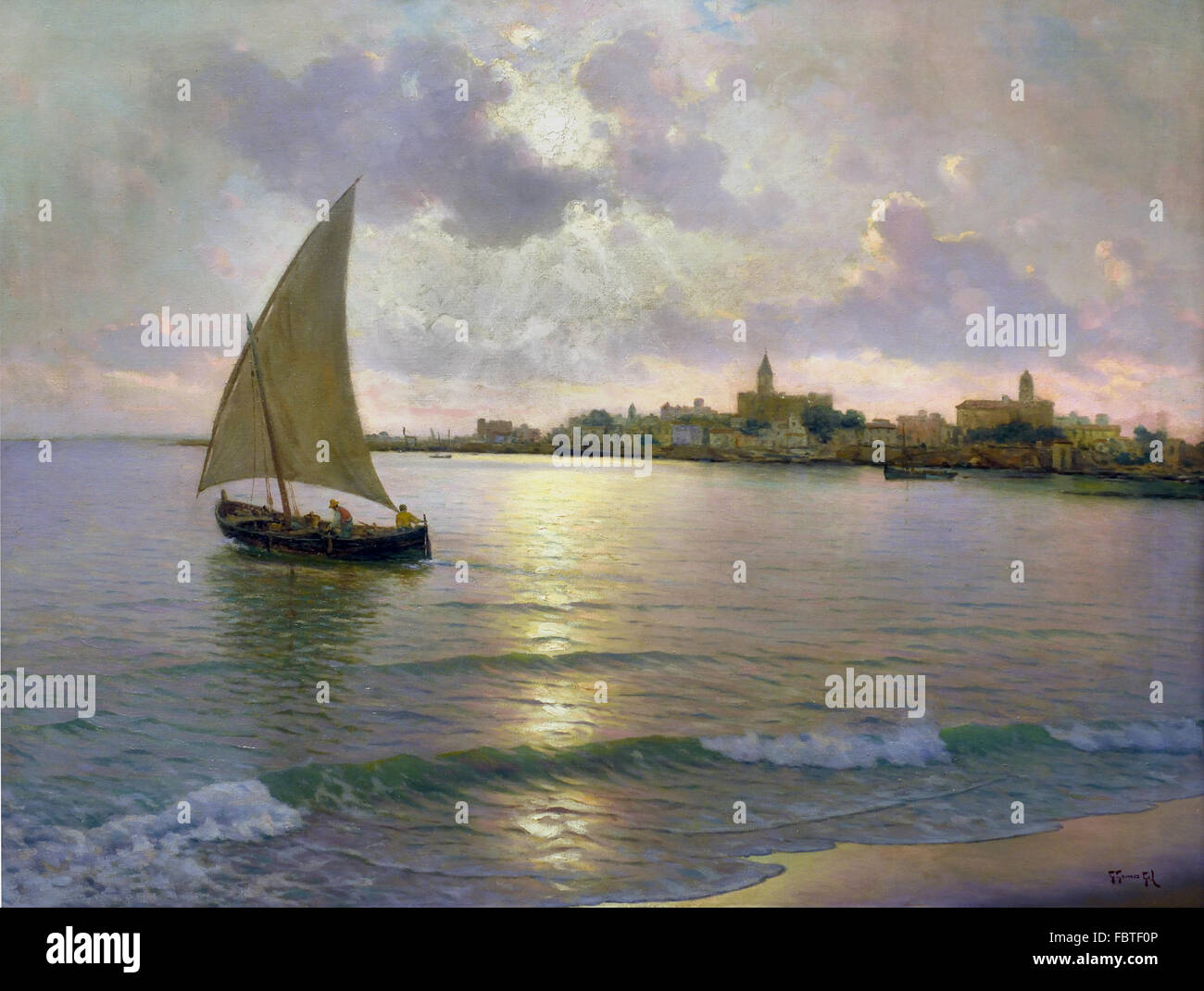Seascape by Guillermo Gómez Gil 1862 - 1946 Andalusia Spanish Spain - Stock Image