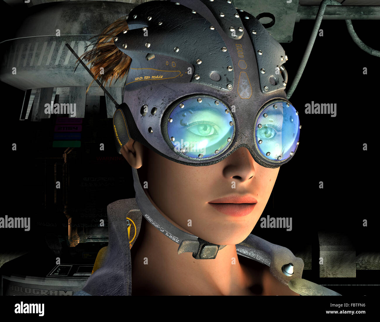 post-apocalyptic young woman - Stock Image