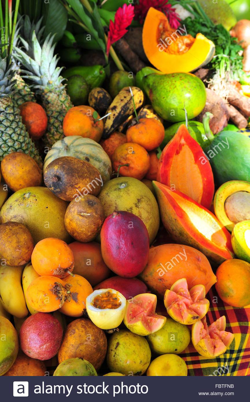 The guadeloupe exotic fruits stock photo 93352263 alamy - Image fruit exotique ...