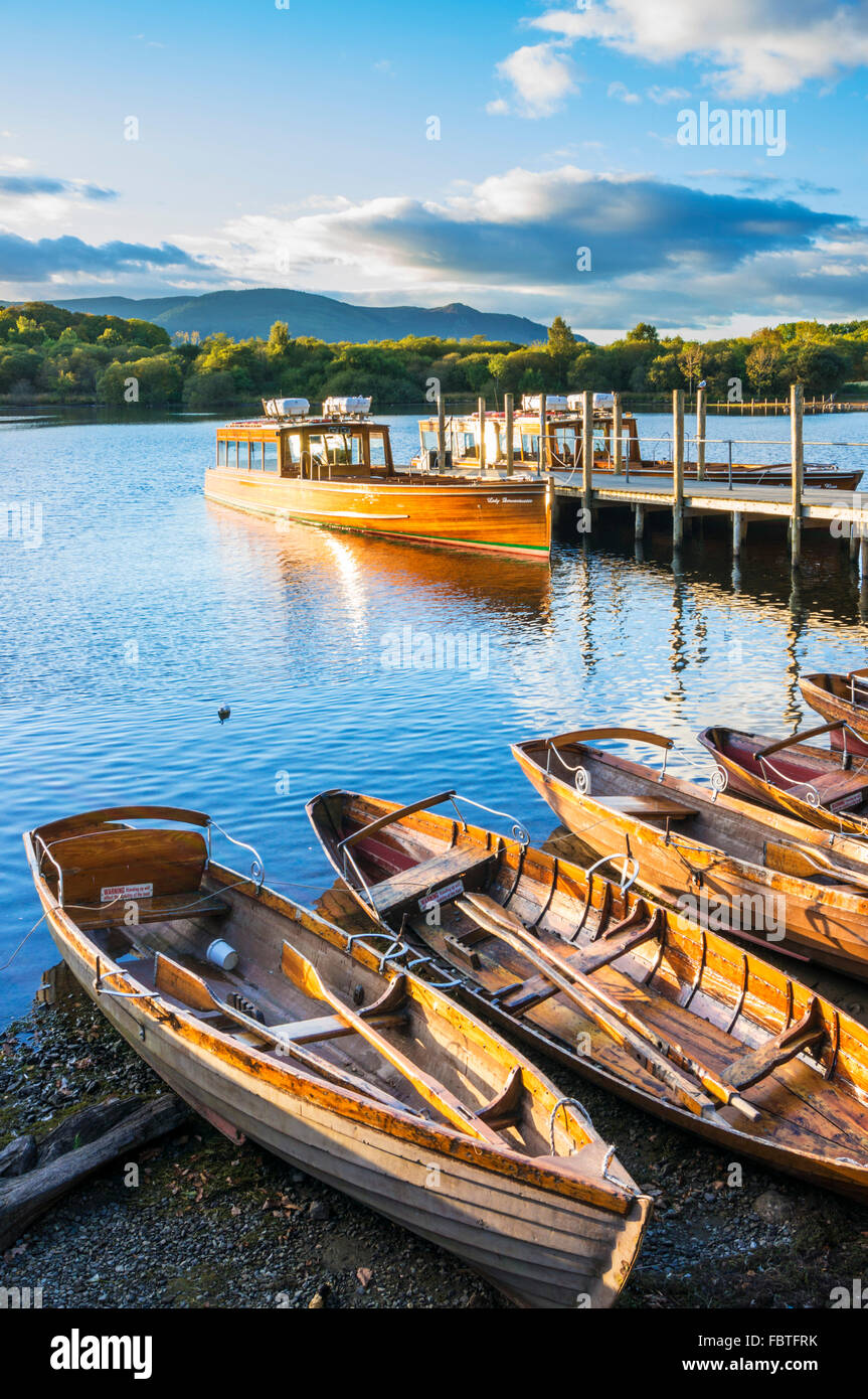 Wooden rowing boats and ferry Keswick Landing Stages Derwent Water Keswick Lake District Cumbria England UK GB EU - Stock Image