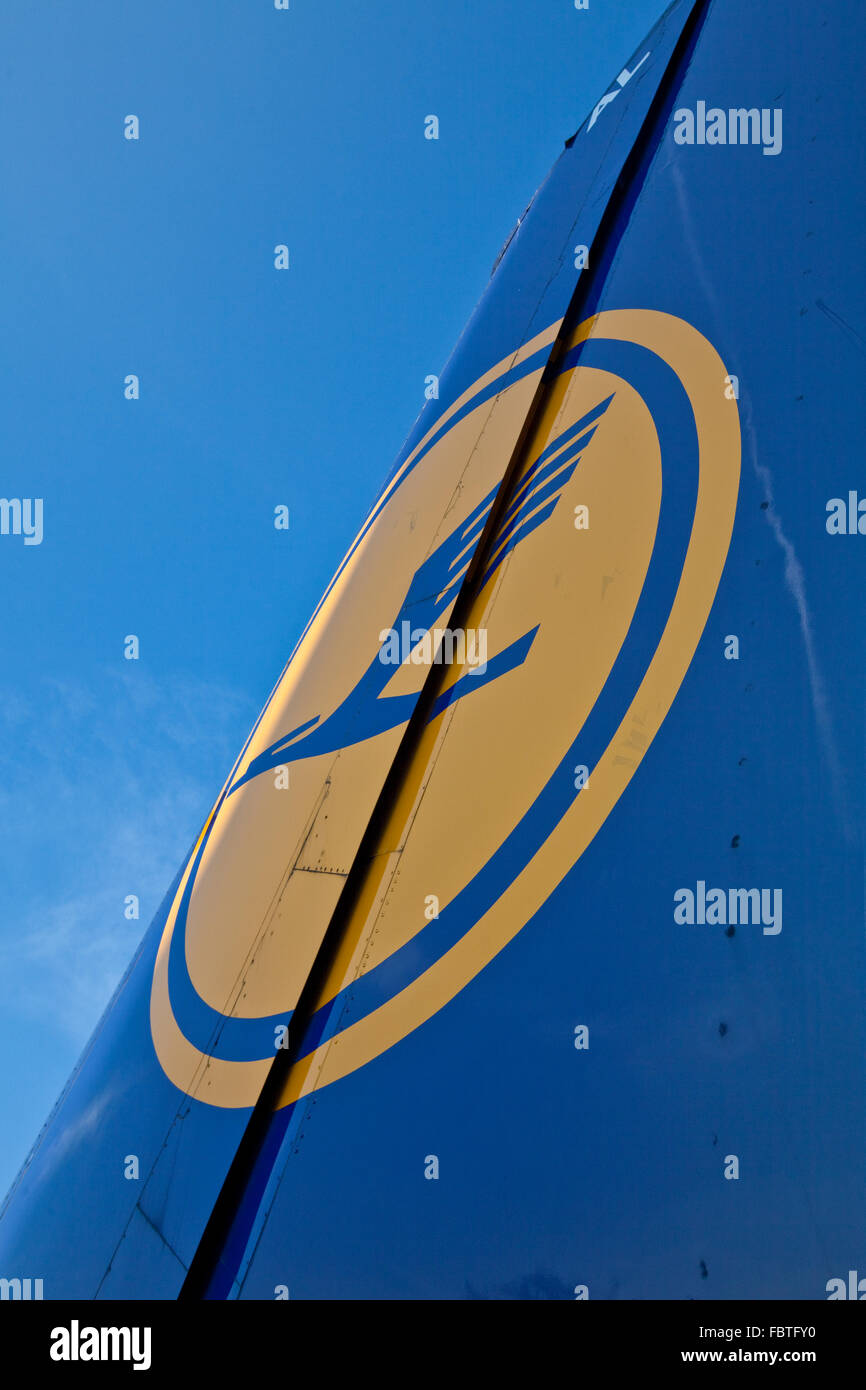 Tail fin of an aircraft in the Lufthansa - Stock Image