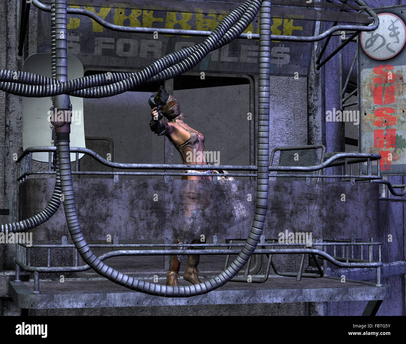 post-apocalyptic woman with gun - Stock Image