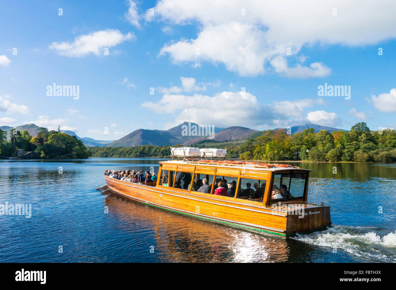 Motor ferry leaving the landing stages at Keswick Lake District national park Cumbria England UK GB EU Europe - Stock Image