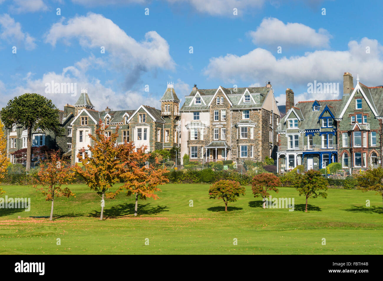 Hotels and bed and breakfast places on The Heads behind Hope Park Keswick Cumbria Lake district England uk gb eu - Stock Image
