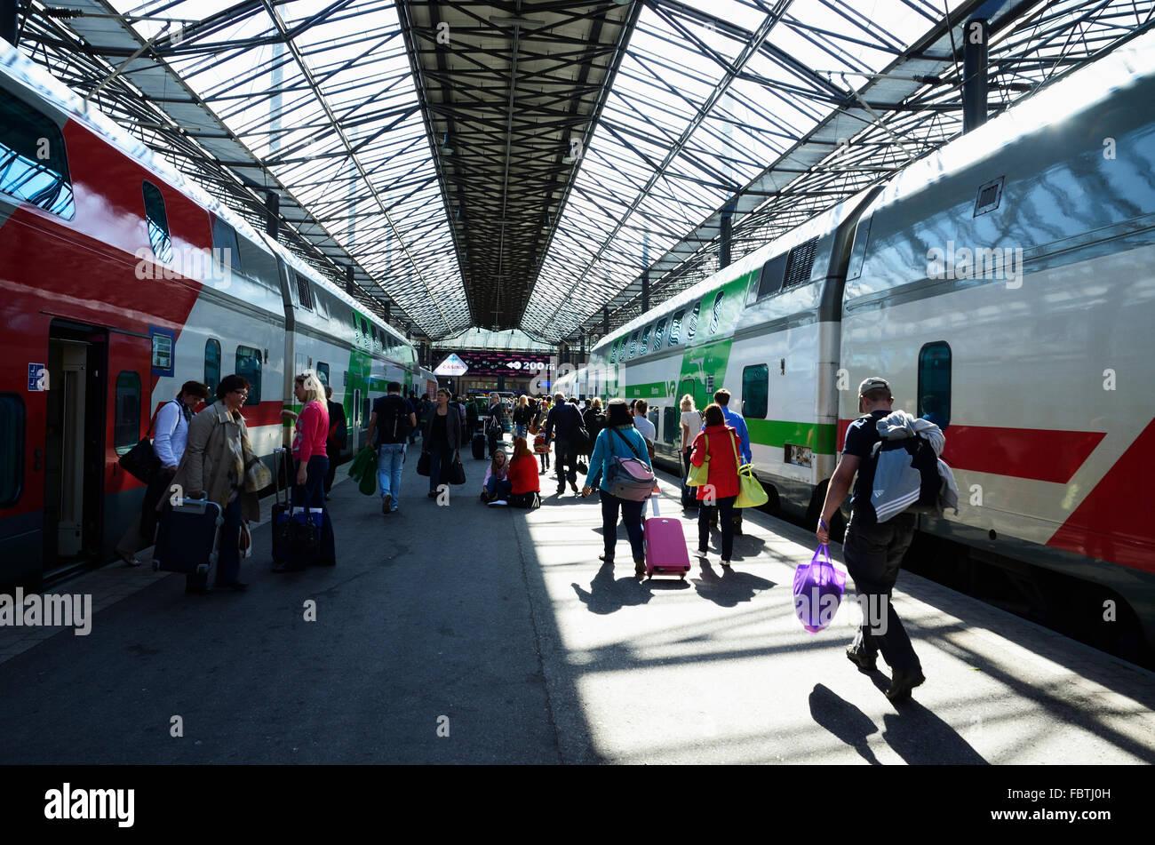 Helsinki Central railway station. Helsinki, Uusimaa. Finland - Stock Image