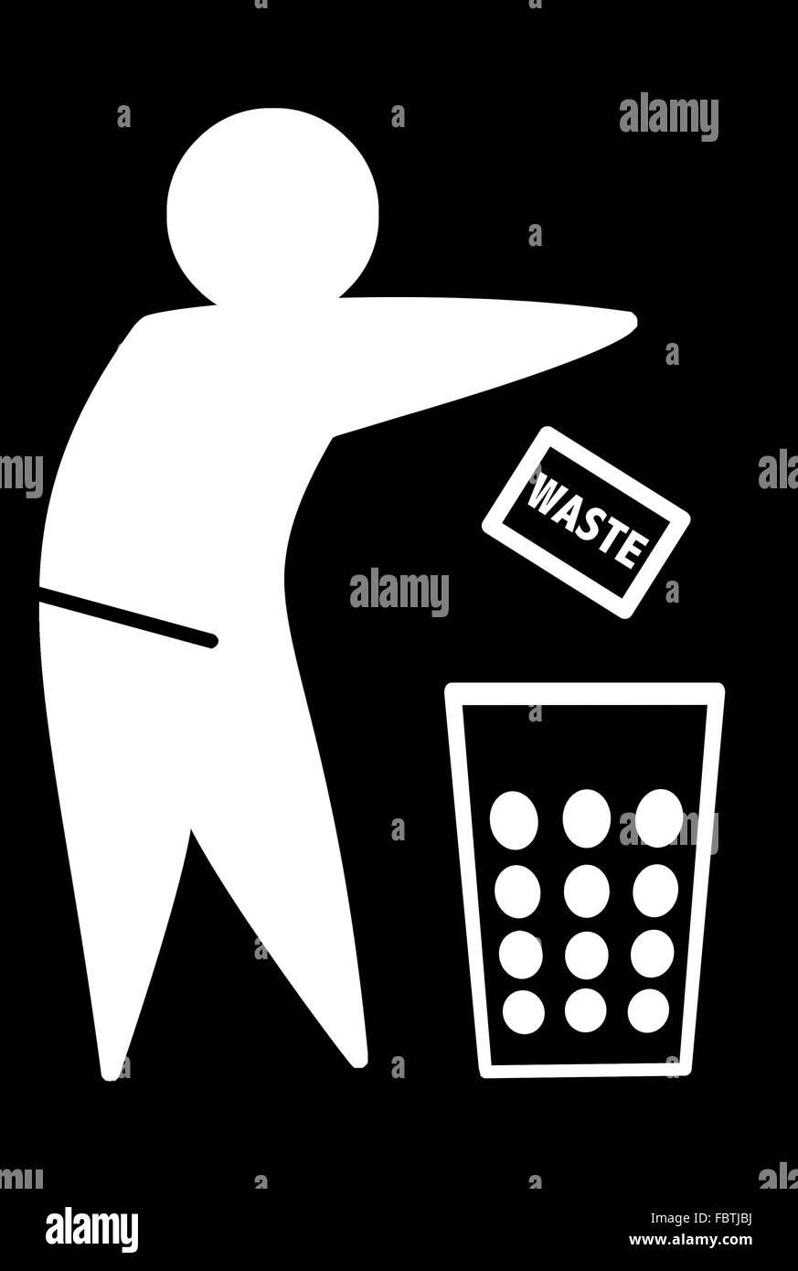 WASTE icon white Stock Photo