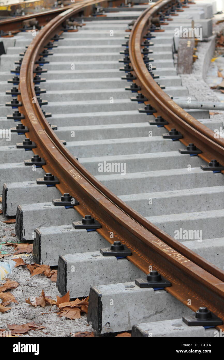 rail track grey and brown - Stock Image
