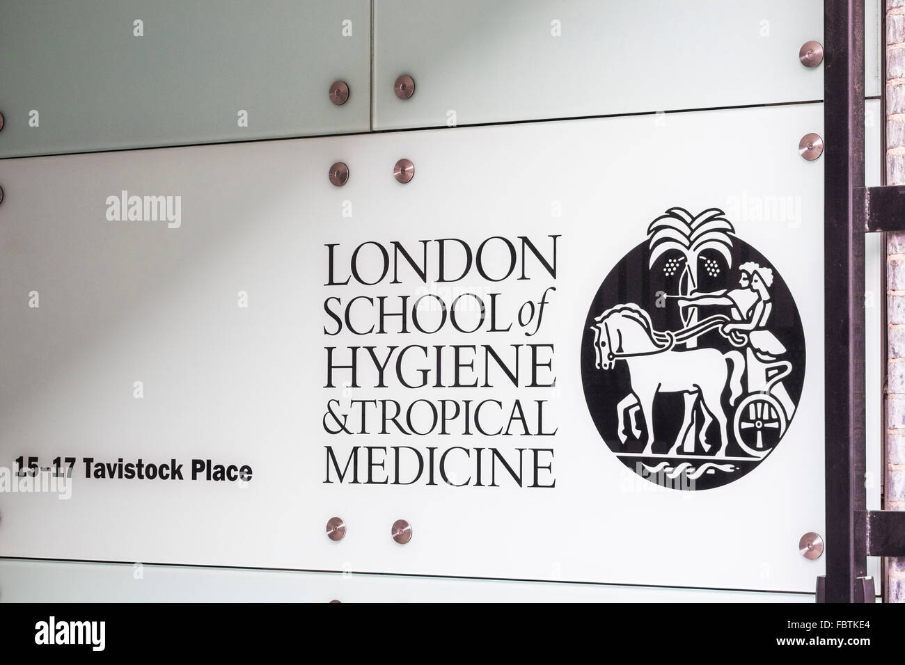 London School of Hygiene & Tropical medicine name sign, London, England, U.K. Stock Photo