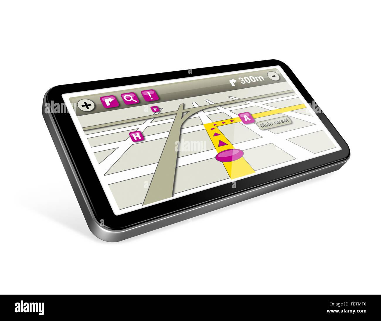 GPS navigator isolated on white - Stock Image