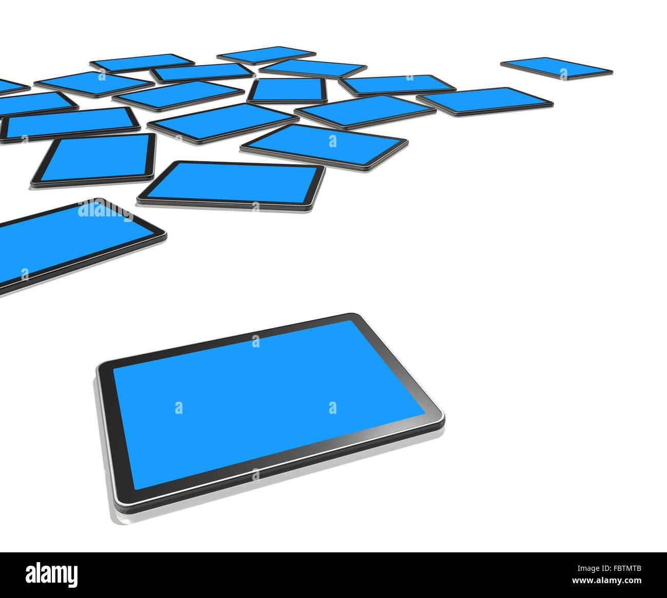 3D TV screens, digital tablet PC - Stock Image