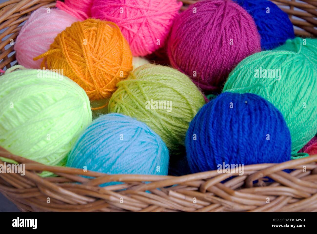 knittingbasket and wool - Stock Image