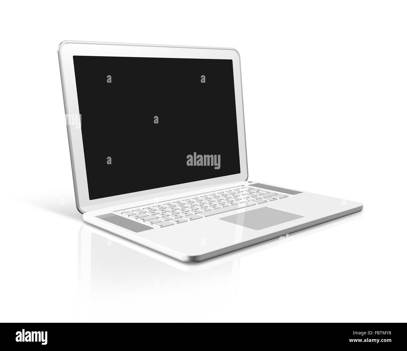 white Laptop computer isolated on white - Stock Image