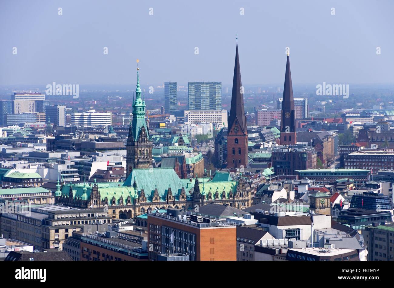 hamburg skyline - Stock Image