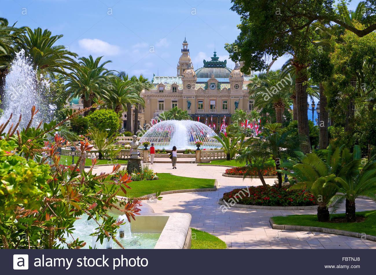 Impeccable garden in Monaco - Stock Image