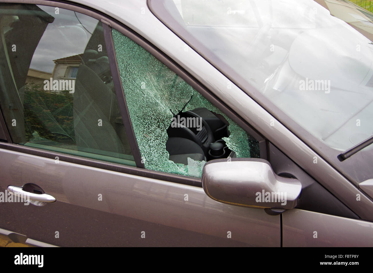 car vandalism - Stock Image