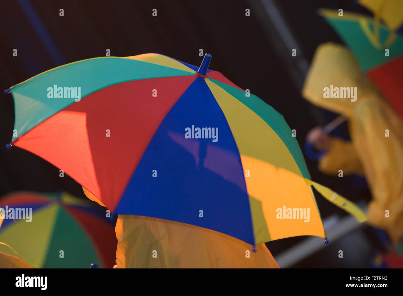 more coloured umbrella - Stock Image