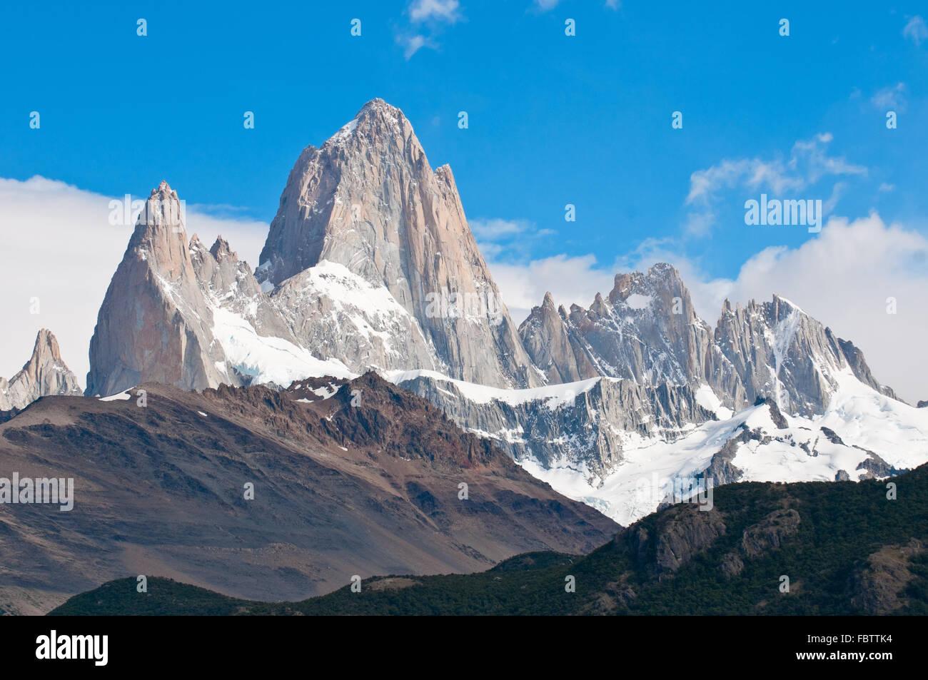 Fitz Roy mountain and Laguna de los Tres, Patagonia, Argentina - Stock Image