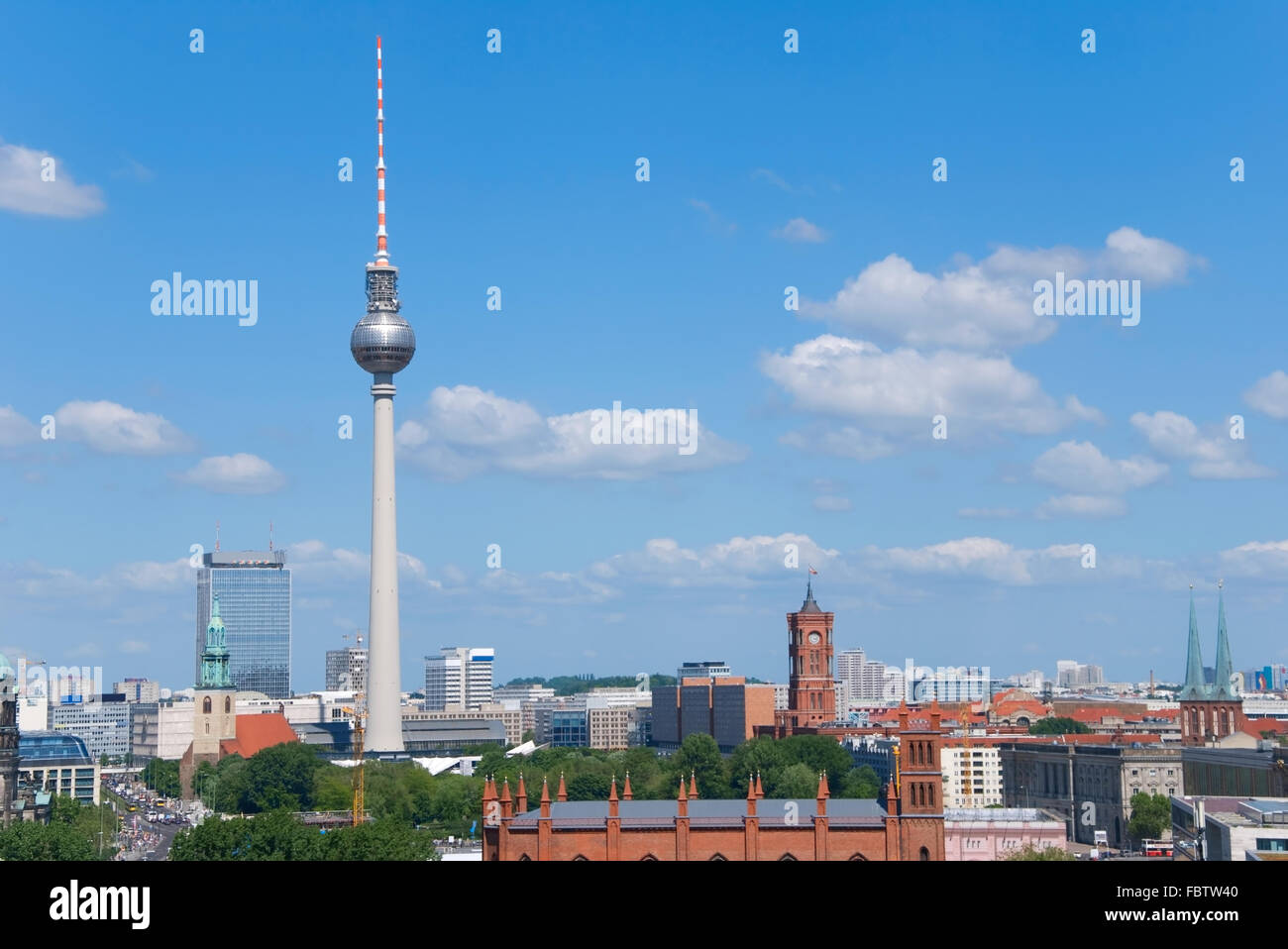 berlin skyline with rotes rathaus town hall - Stock Image