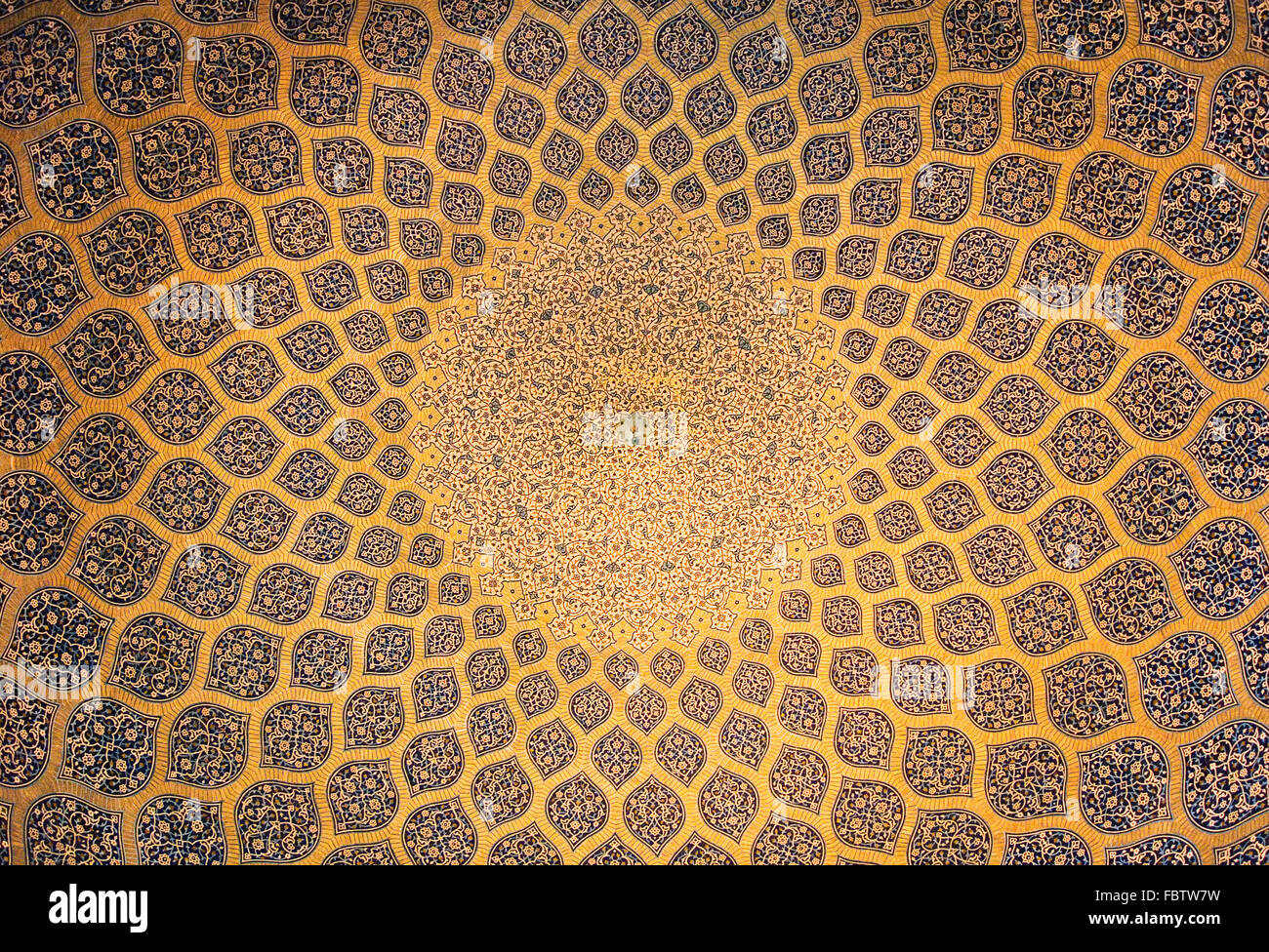 Dome of the mosque, oriental ornaments from Isfahan, Iran - Stock Image