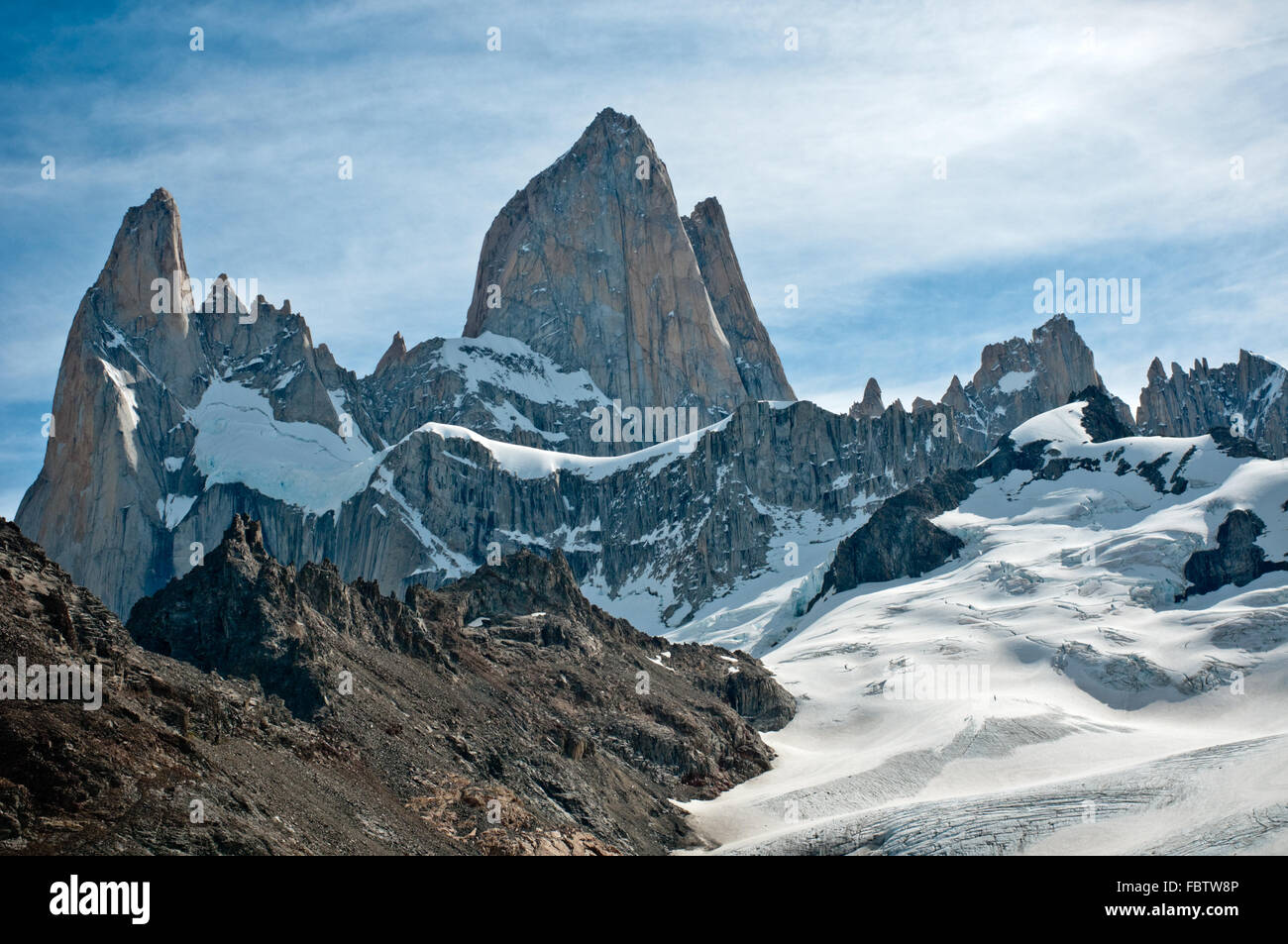Fitz Roy mountain and Laguna de los Tres, Patagonia, Argentina - Stock Image
