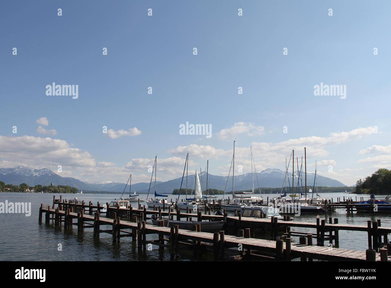 At the harbour of Gstadt - Stock Image