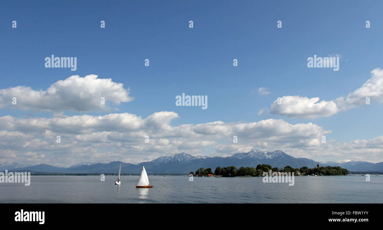 Sailing infront of Frauenchiemsee Stock Photo