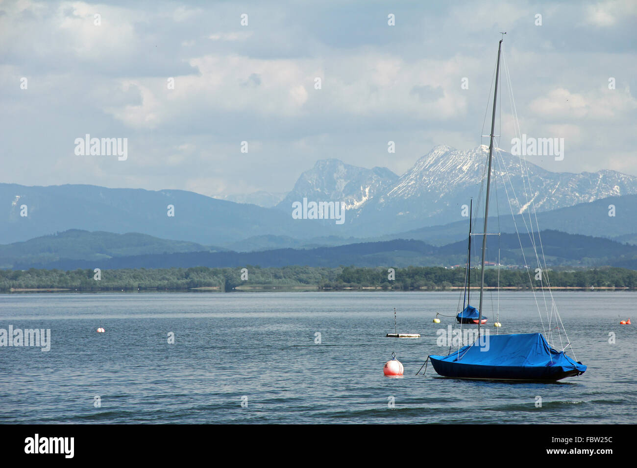 Sailboats on the Chiemsee Stock Photo
