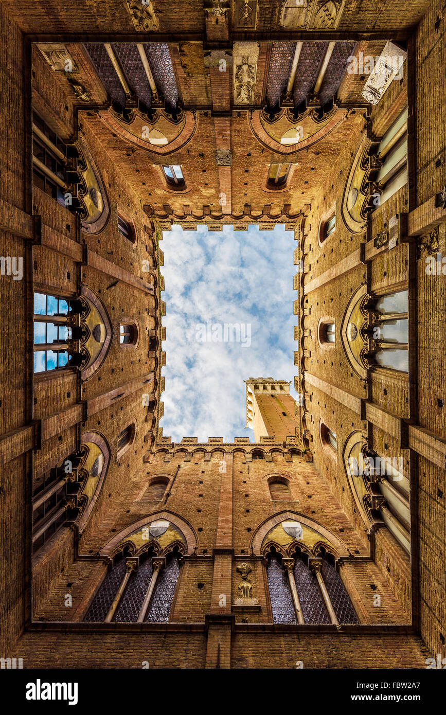 City Hall in Siena, the beautiful medieval building in Tuscany. - Stock Image