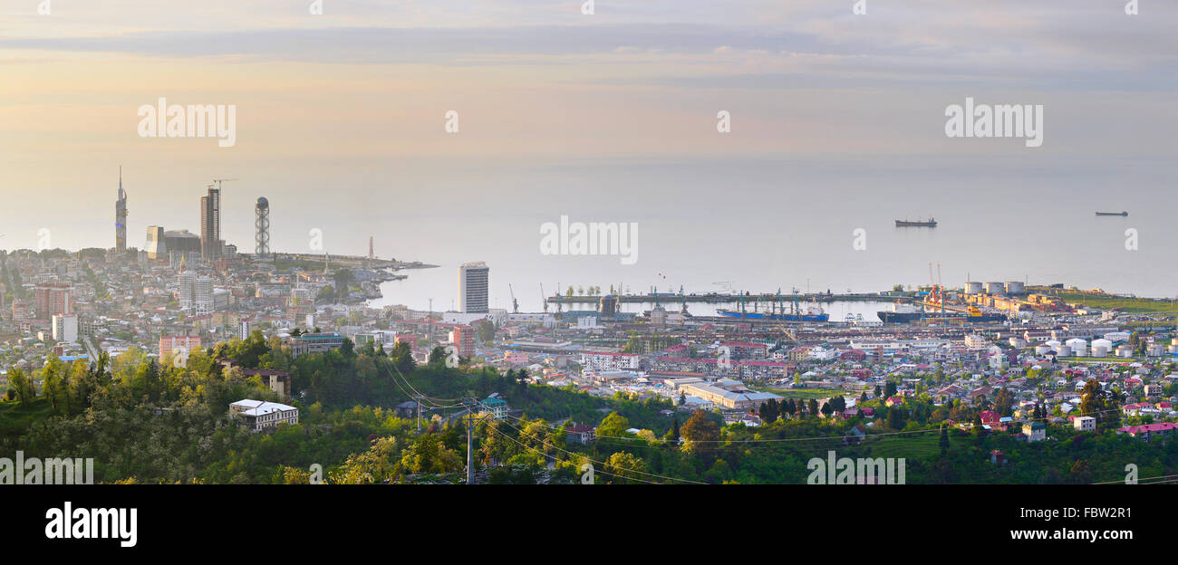 Top view of Batumi sea port and embankment. Georgian Republic - Stock Image