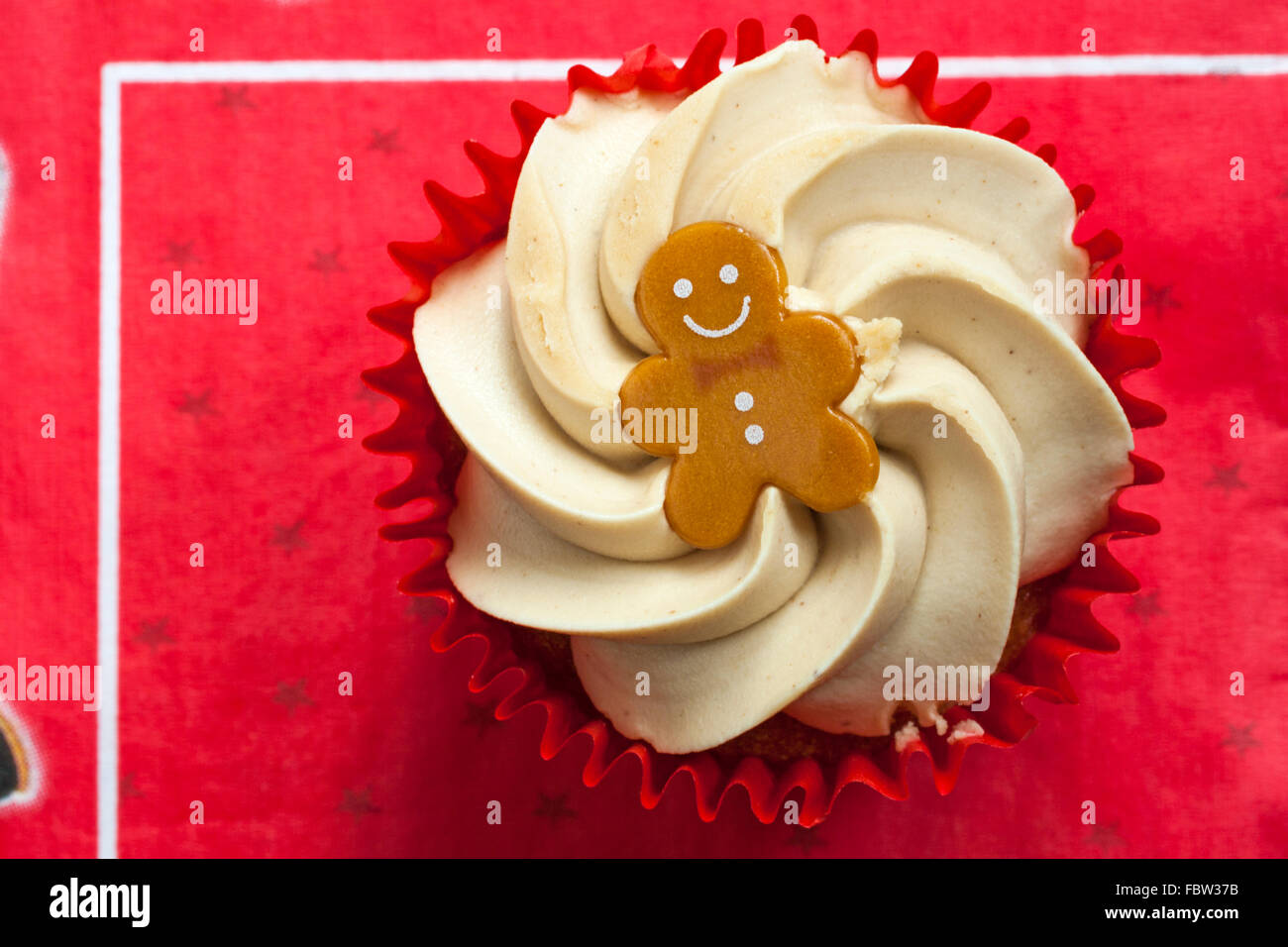 Tesco Gingerbread Cupcake On Red Serviette Stock Photo Alamy