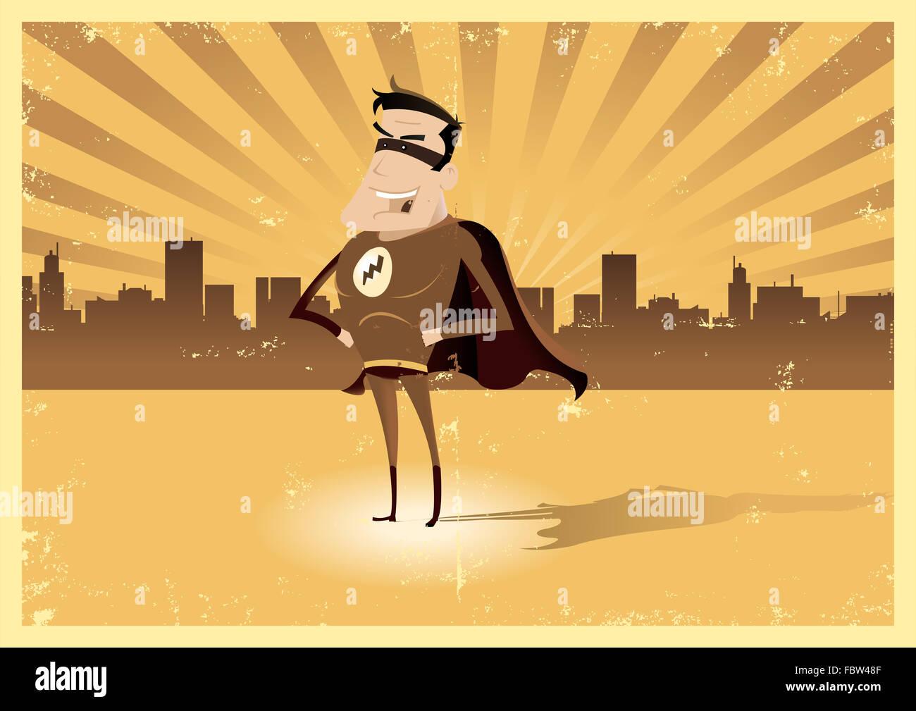 Vintage Retro Super Hero - Male - Stock Image