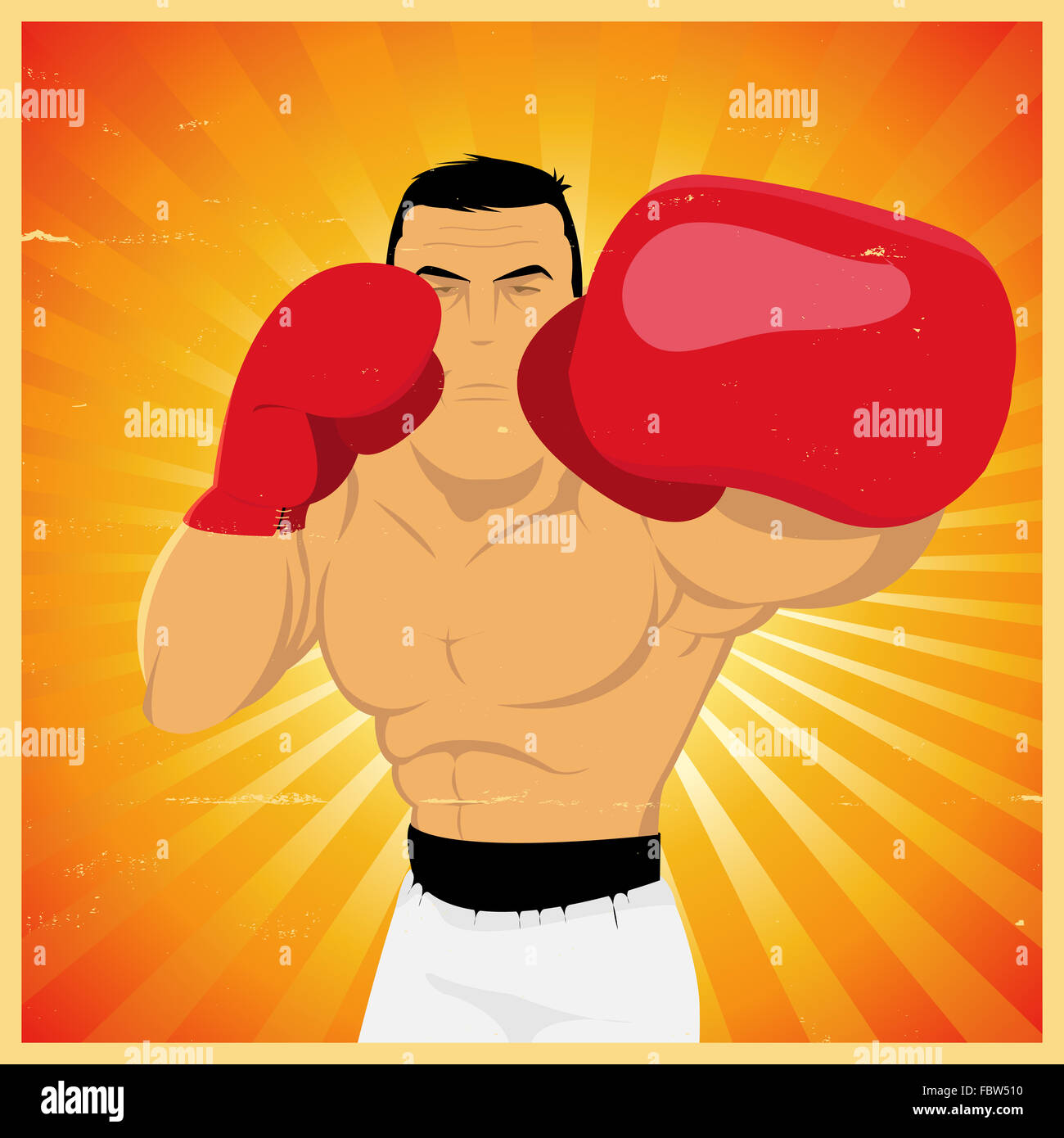 Left Jab - Grunge Boxer Poster - Stock Image