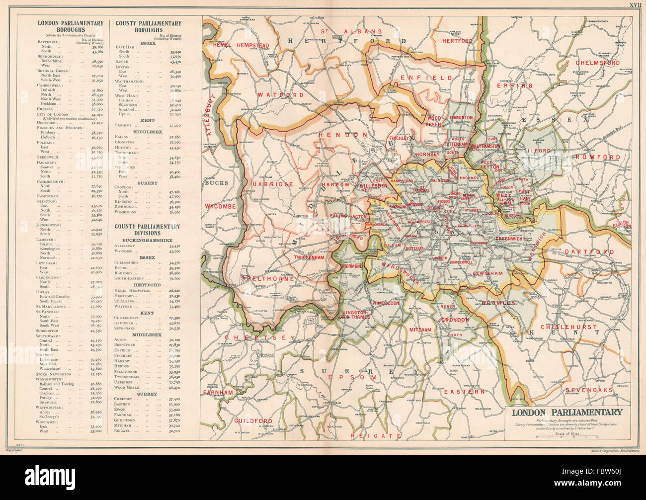 Greater London Parliamentary Constituencies Boroughs # Electors Bacon 1934 Map High Quality Goods
