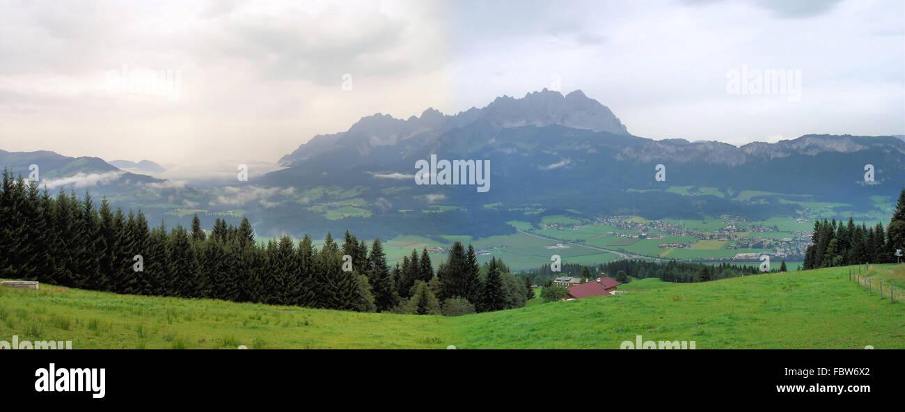 Fogs at Wilder Kaiser in Tyrol - Stock Image