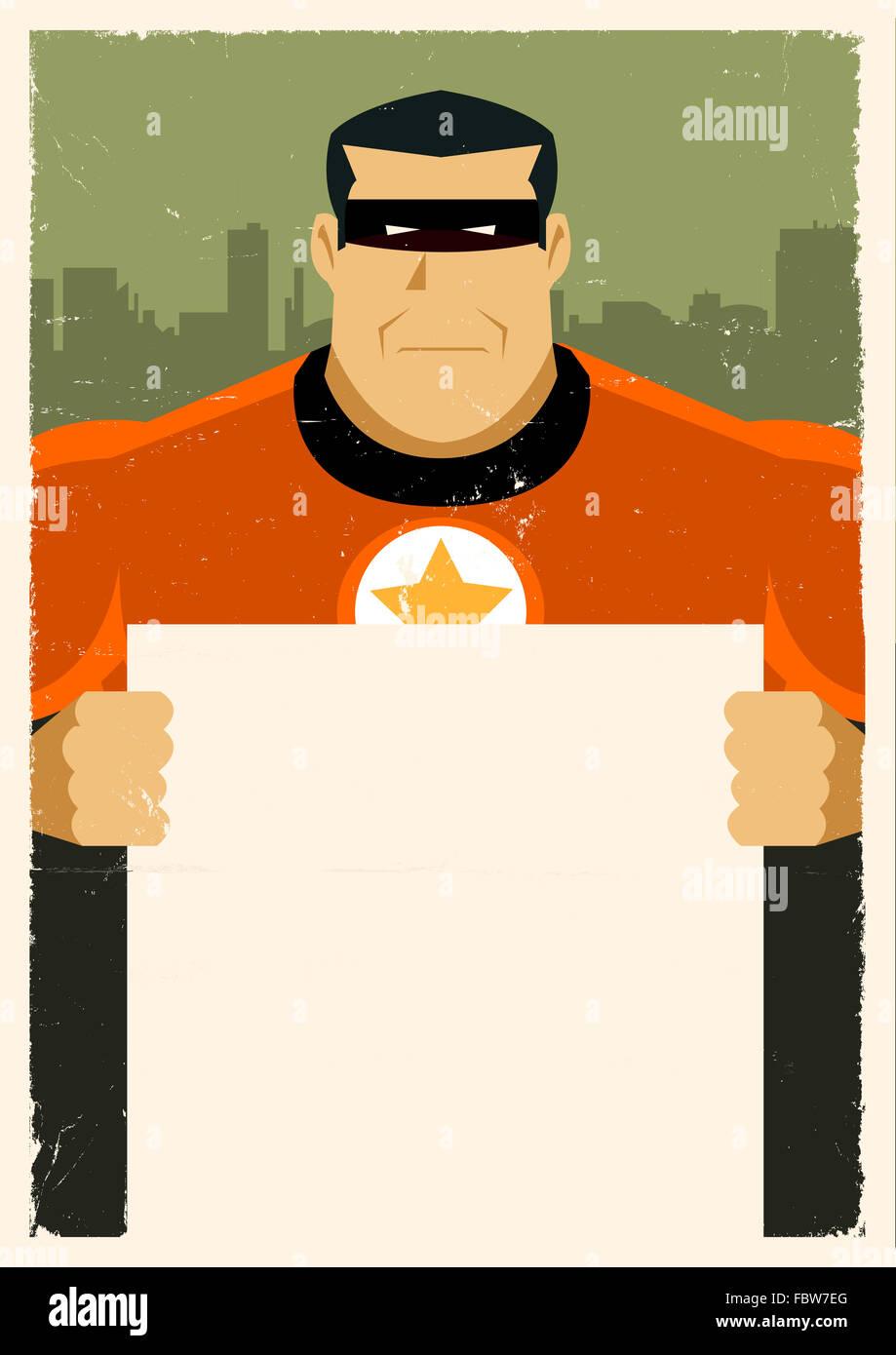 Grunge Urban Super Hero Ad Sign - Stock Image