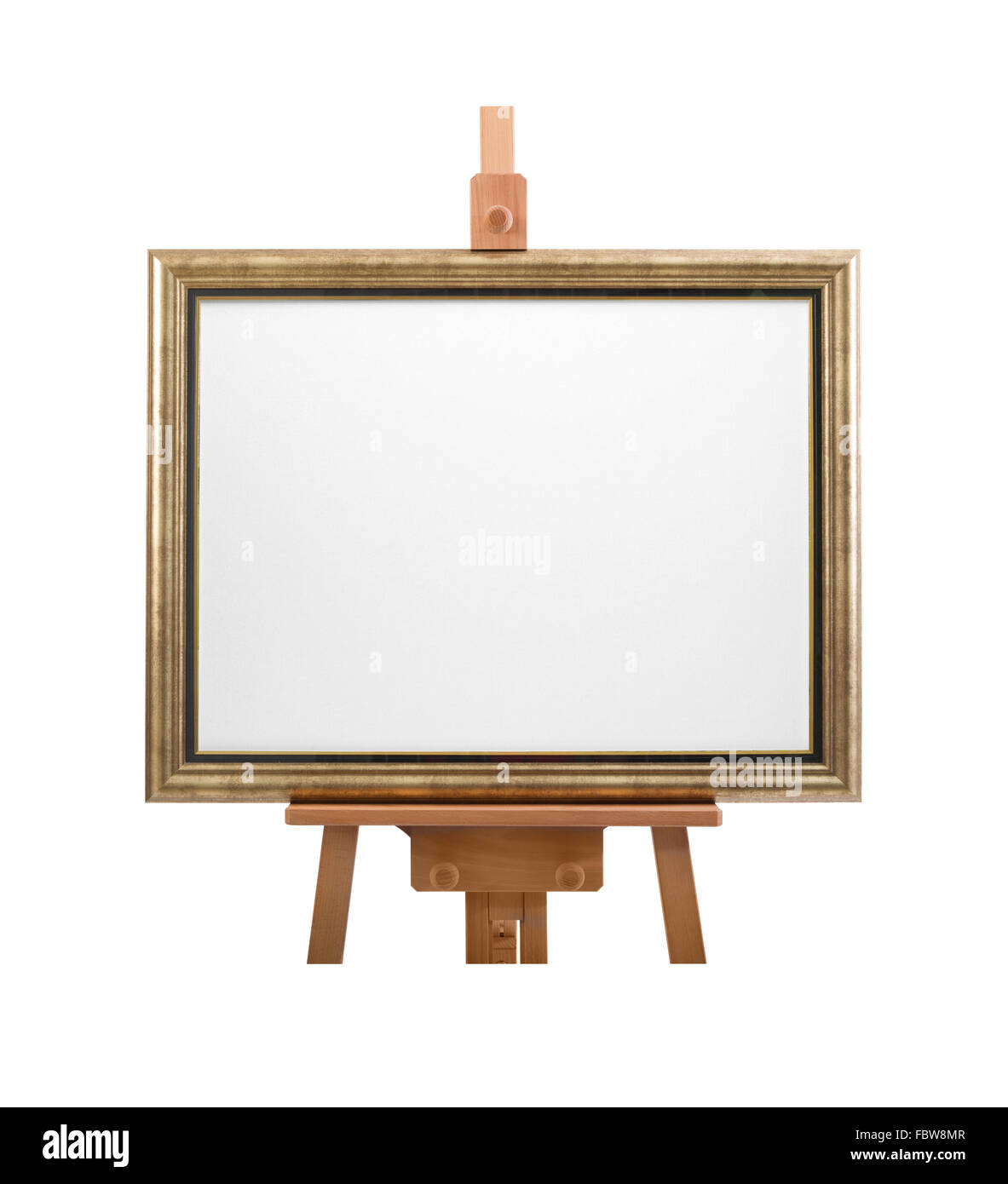 White painter canvas in frame on wooden easel isolated on white ...