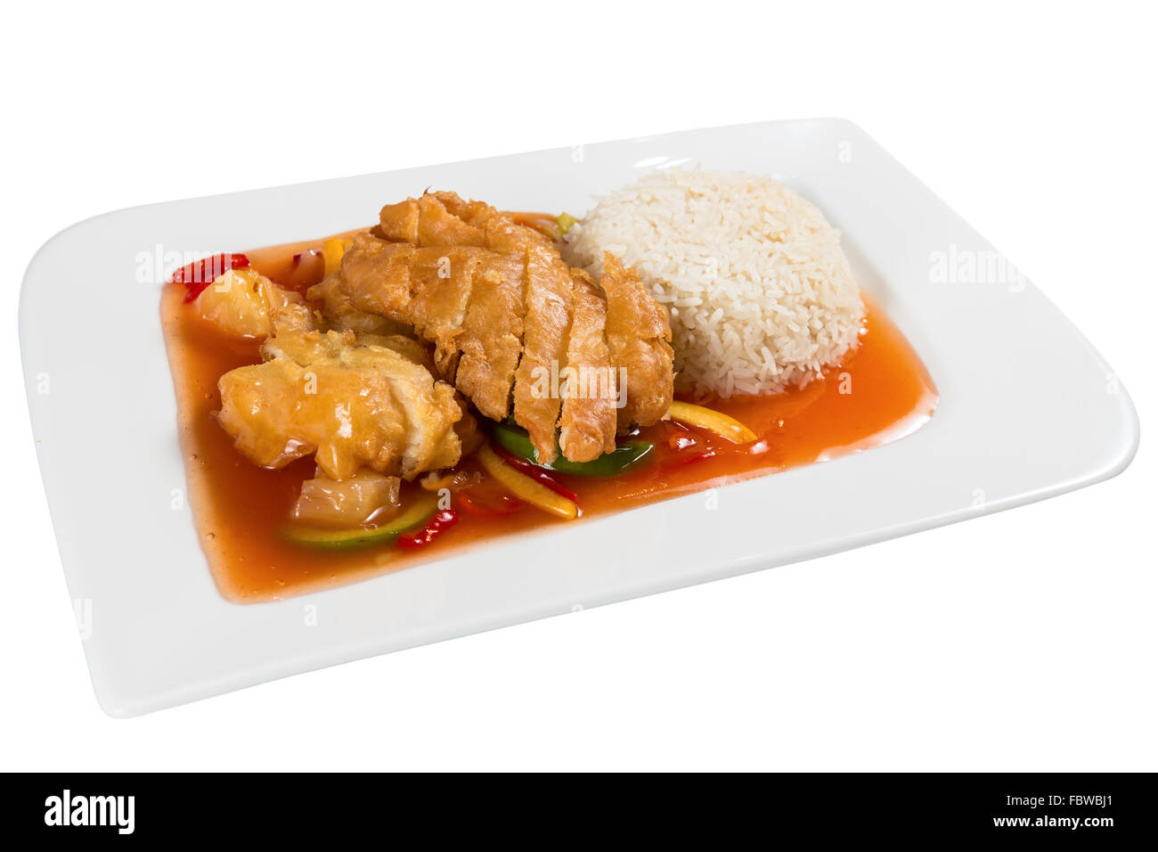 Chinese Food On A White Plate Roast Chicken With Vegetables