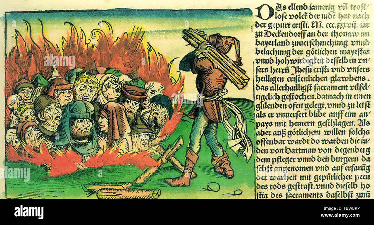 NUREMBERG CHRONICLE 1493.  Illustration showing Jews being burned to death - Stock Image